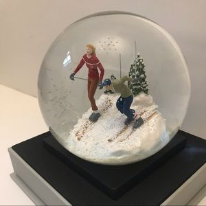 Aspen Skiers Snow Globe Skiing Couple: Handmade
